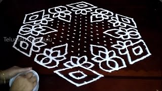 Download Round Flowers kolam designs with 21-11 midlle | chukkala muggulu with dots| rangoli design Video