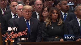Download Trump Worried About Mean Comments at Bush Funeral Video