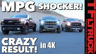 Download MPG Disappointment: 2019 Ford Raptor vs Chevy Silverado Trailboss vs Ram Rebel! Video