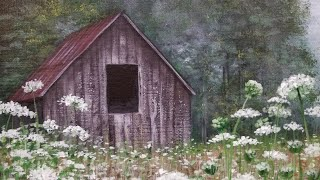 Download Rustic Barn in Wildflowers Landscape Acrylic Painting Tutorial LIVE Video