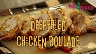 Download Deepfried Chicken Roulade. Rolled, stuffed chicken quarter, crispy deep-fried to perfection! Video