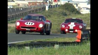 Download Ferrari 250 GTO '64 vs Corvette, 4 AC Cobra's, Shelby Cobra Daytona Coupe's at Zandvoort! Video