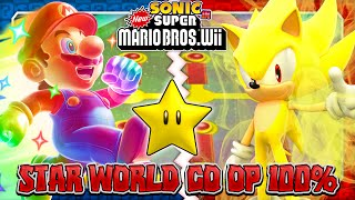 Download Sonic & Mario in New Super Mario Bros Wii - Co Op 100% - Star World Video