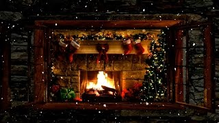 Download Christmas Fireplace Window Scene with Snow and Crackling Fire Sounds Video