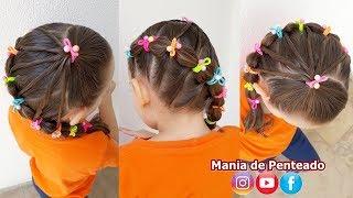 Download Penteado Infantil lateral com amarração, elásticos coloridos e trança bolha Video