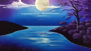 How To Draw Moonlight Scenery Step By Step Easy Draw Free Download