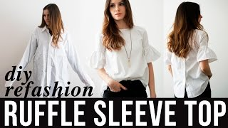 Download DIY ruffle sleeve top refashion from dress shirt Video