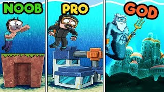 Download Minecraft - UNDERWATER BASE CHALLENGE! (NOOB vs. PRO vs. GOD) Video
