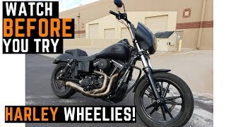 Download Why Is It So Hard To Wheelie a Harley Dyna? Challenges, New Rider Progress, Wheelie Practice How To Video