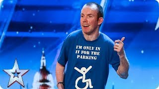 Download Lost Voice Guy has the audience ROARING with unique comedy routine | Auditions | BGT 2018 Video