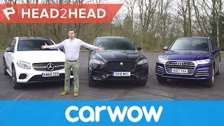 Download Mercedes GLC v Audi Q5 vs Jaguar F-Pace review | Head2Head Video