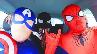 Download Superheroes Dancing in Car | Spiderman Venom Batman Flash & Captain America Funny Movie in Real Life Video