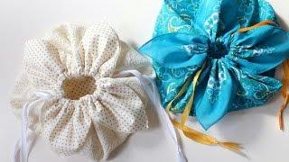 Download DIY ** Petal drawstring bag tutorial, by hand sewing. ** Video