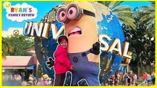 Download Despicable Me Minion Toy Hunts at Minions Hotel Universal Studio + Amusement Rides Kids Pool Play Video