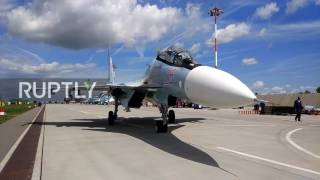 Download Russia: Sukhoi Su-34 and Su-24M jets take the skies in Aviadarts Video