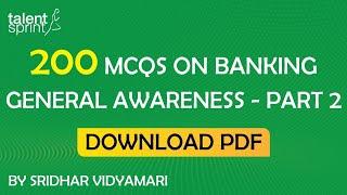 Download 200 MCQs on Banking General Awareness - Part 2   SBI PO, Clerk  RBI Grade B   IBPS Video