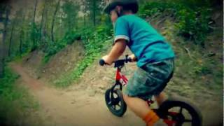 Download Amazing and Cute 3 year old kid mountain biking! (strider bikes rule!) Video