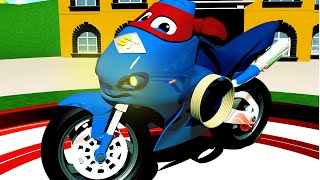 Download The MOTOR BIKE TRUCK - Carl the Super Truck in Car City | Motorbike Cartoons for Children Video