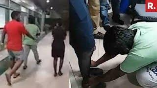 Download IndiGo Staffer Makes Drunk Passengers Touch Her Feet For Misbehaving Video
