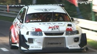 Download Mitsubishi Lancer EVO RS Turbo & Supercharger 800 HP, Martini BMW, full Onboard at Swiss Hillclimb Video