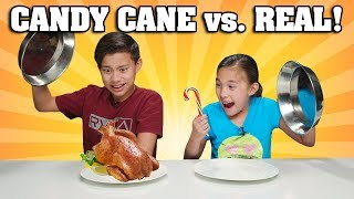 Download CANDY CANE VS. REAL FOOD CHALLENGE!!! Chicken Flavored Candy???! Video