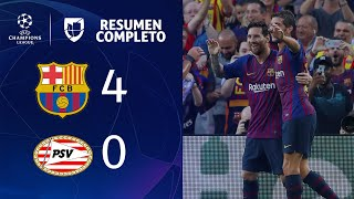 Download Barcelona 4-0 PSV - GOLES Y RESUMEN - Grupo B UEFA Champions League Video