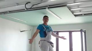 Download Самый ЛЕГКИЙ монтаж листа гипсокартона в одиночку. Easiest way install drywall. Потолок #11. Video