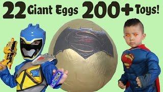 Download 22 Giant Surprise Eggs 200+ Toys Unboxing Power Rangers Spiderman Batman Disney Cars Ben 10 Pokemon Video