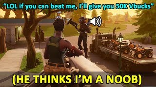 Download I Pretended To Be A Noob And Got Someone To 1v1 Me For 50k VBUCKS FREE In Fortnite Playground Video