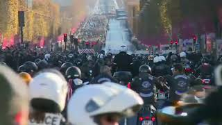 Download Motorbikes accompany Johnny Hallyday funeral cortege down Champs Elysees Video