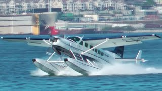 Download Seair Cessna Caravan Seaplane Landing at Vancouver Harbour Water Airport Video