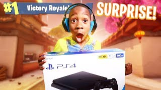 Download I told my 9 year old little brother if he gets a victory royale in Fortnite I will buy him a PS4! Video