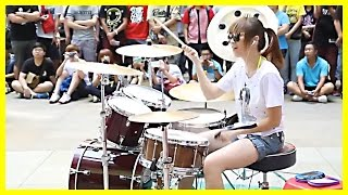 Download Amazing Girl Drummer Does BIGBANG - Fantastic Baby Street Performance Video