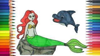 Download Русалочка и дельфин Рисование и Раскраски Video