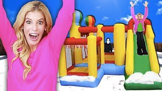 Download 24 Hours inside a GAME MASTER BOUNCE HOUSE! (Who Wins $10,000 & Matt Missing in Top Secret Hideout) Video