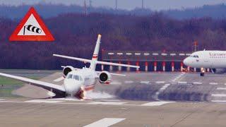Download Extreme Storm Eberhard 60 Knots - Düsseldorf Airport - Crosswind Landings, and a lot of Go Arounds Video