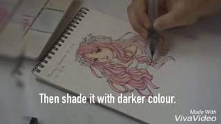 Download ANIME COLOURING TUTORIAL with Sakura Koi Watercolors + Copic ( EASY WAY ) Video