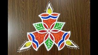 Download Simple Deepa Rangoli Design with Beautiful Colours and 5x3 Dots | Easy 3 Dots Kolam | Deepa Kolam Video