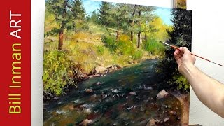 Download How to Paint a Colorado River and Trees - Online Art Classes in Oil or Acrylic Fast Motion Video Video