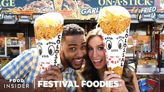 Download LA County Fair: Giant Curly Fry Cone & Chicken And Waffle On A Stick | Festival Foodies Video