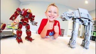 Download FATHER SON ULTIMATE LEGO BATTLE! /Hulk Buster VS AT AT WALKER! Video