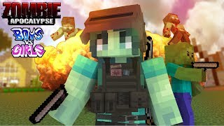 Download Monster School : FUNNY ZOMBIE APOCALYPSE BOY VS GIRL CHALLENGE - Minecraft Animation Video