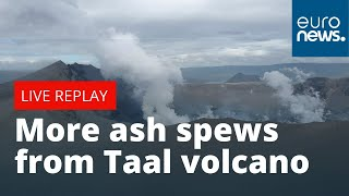 Download More ash spews from Taal volcano south of Manila | LIVE Video