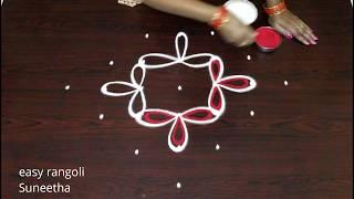 Download Simple n cute rangoli designs with 7 dots easy muggulu by Suneetha latest beautiful kolam Video