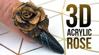 Download 3D Acrylic Rose on a Matte Nail with Glossy Design - Step by Step Nail Tutorial Video