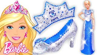 Download Play Doh Making Colorful Sparkle Disney Princess Barbie Dress High Heels Crown Castle Toys Video