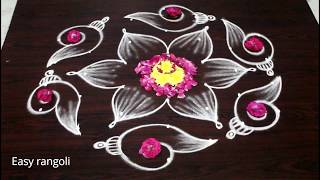 Download latest shanku kolam designs with7x4 dots for navarathri festival - easy rangoli designs - muggulu Video