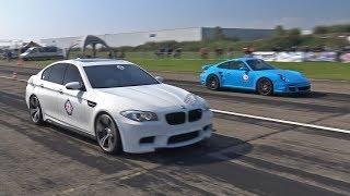Download 720HP BMW M5 F10 w/ Akrapovic Exhaust - Donuts, Revs & Drag Racing! Video