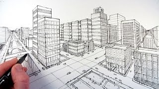 Download How To Draw A City Using Two Point Perspective Video