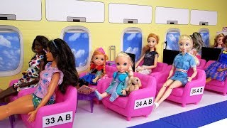 Download Airplane ! Elsa and Anna toddlers in Barbie's plane - vacation trip Video